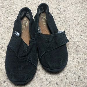 Toms black canvas shoes T10 with Velcro strap